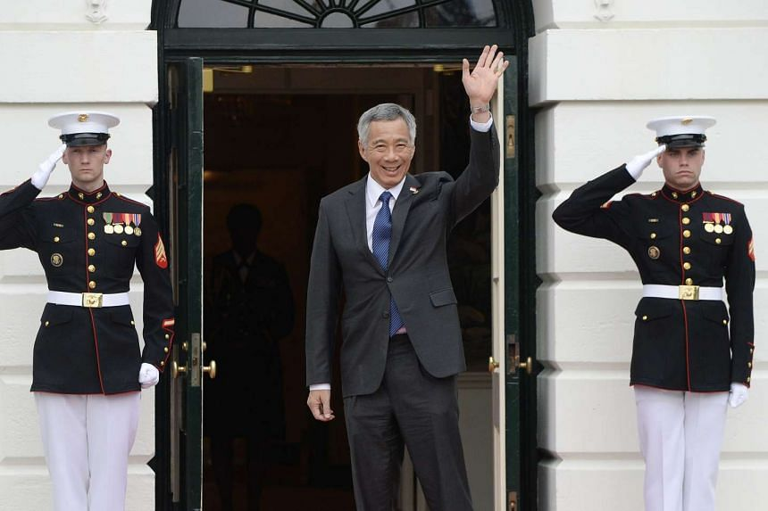 PM Lee arriving for a working dinner at the White House on March 31.