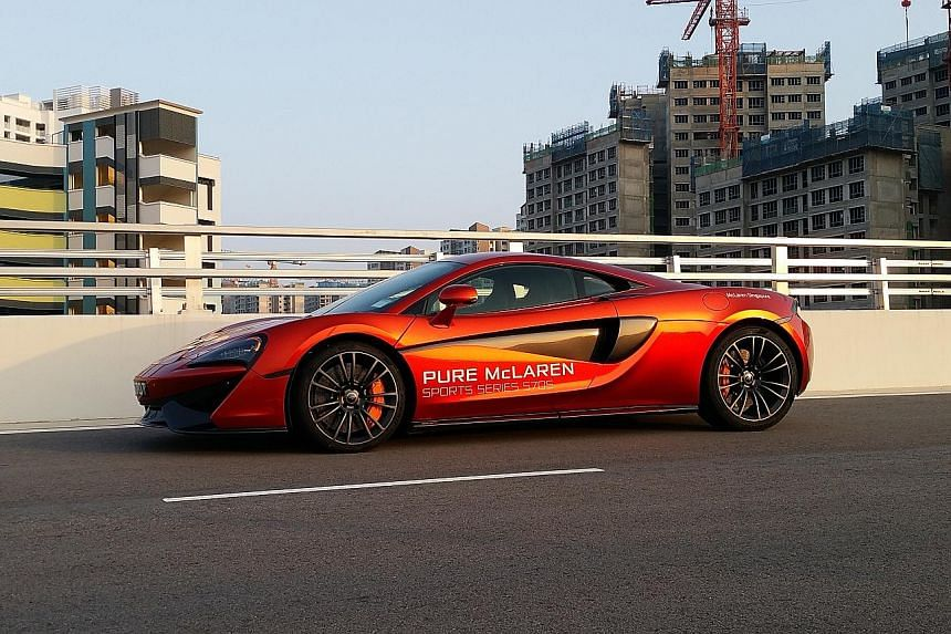 The McLaren 570S weaves through traffic flawlessly.