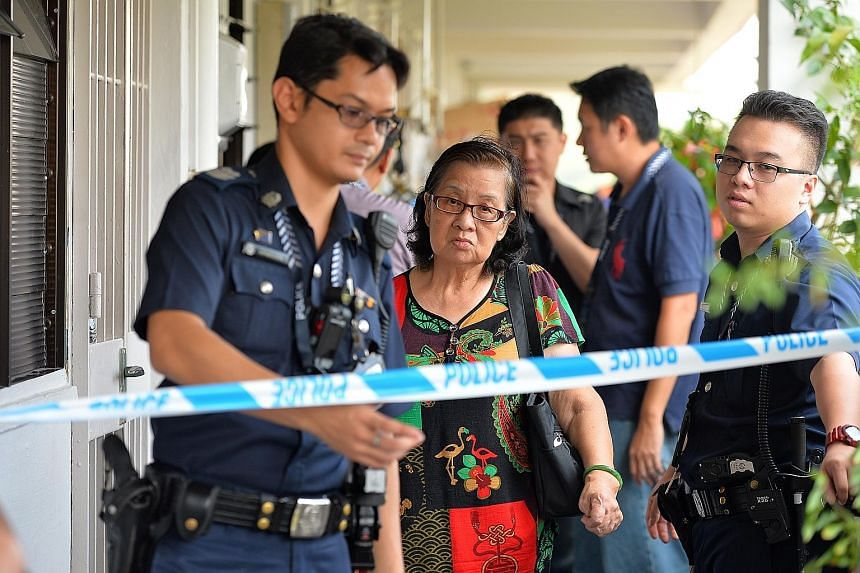 Madam Chua Tian Choo (left), the suspect's mother, said the incident left her feeling dizzy, but insisted her son never harmed or threatened her.