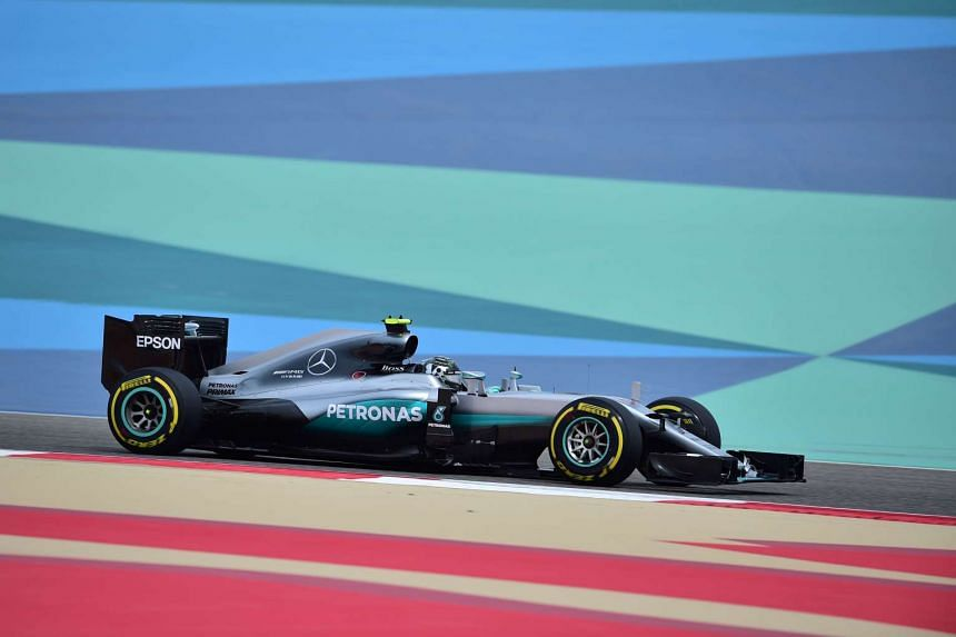 Rosberg drives during the first practice session at the Sakhir circuit in Manama.