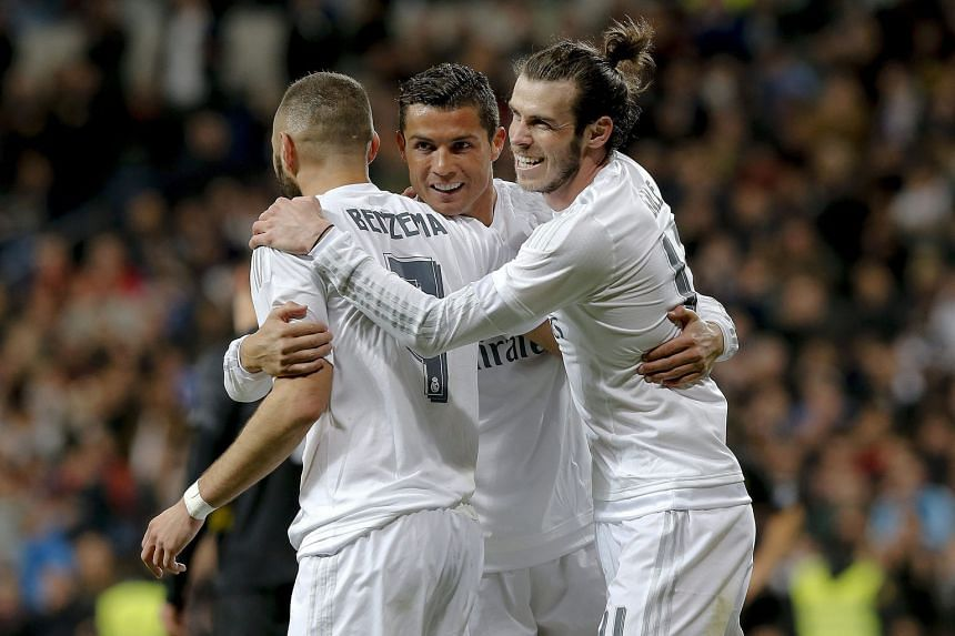 Real Madrid's BBC forward line of Gareth Bale (right), Karim Benzema and Cristiano Ronaldo will be eager for revenge when they face Barcelona at the Nou Camp, having been on the wrong end of a 4-0 trouncing earlier this term.