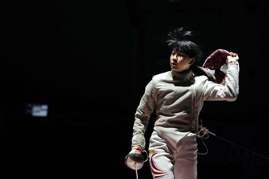 Singapore's Lau Ywen competes during the Women's Individual Sabre Pool at the 28th SEA Games.