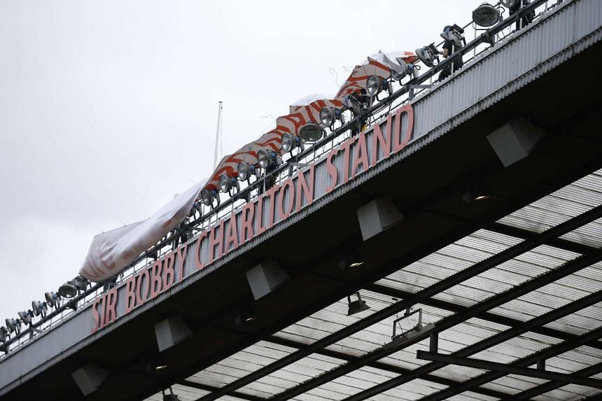 """General view of the newly renamed South Stand """"Sir Bobby Charlton stand"""" to mark the 60th anniversary of his debut for Manchester United."""