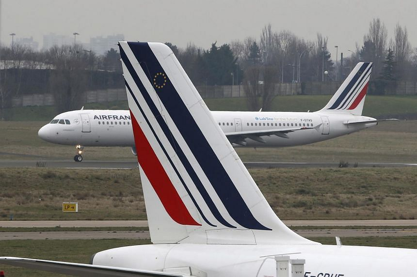 Air France passenger jets are seen on the tarmac of Orly Airport, near Paris, France.