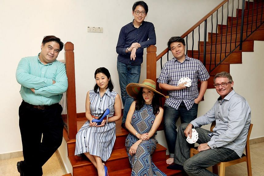 (From left) Jameson Soh, Akiko Otao, Wayne Teo, Angela Hodgins, Reuben Lai and Brent Allcock in L'arietta's first production. Teo provides the musical accompaniment.