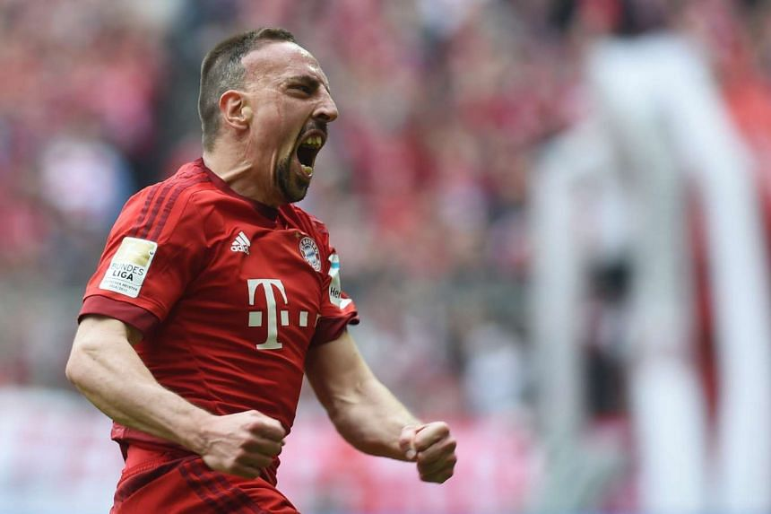 Ribery celebrates after his opening goal .