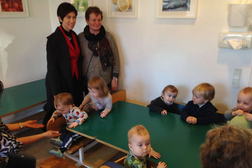 Children at the Dagpleje Norrebro centre for private childminders in Copenhagen. Parents in Denmark have the option of state-subsidised care by home-based private childminders in their own neighbourhood.
