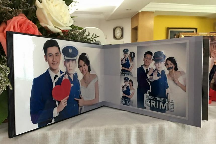 """Singapore's """"most handsome"""" policeman has married his sweetheart, and the couple's wedding photos and video went viral soon after they were posted on Facebook."""
