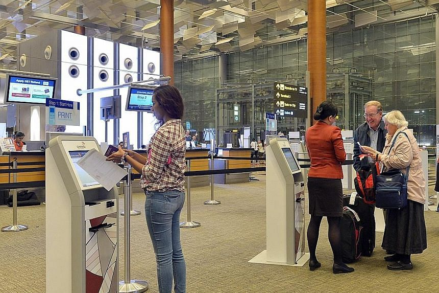 Self-service options such as do-it-yourself check-in is already available at Changi Airport's Terminal 3. T4, which opens next year, will rely mainly on self-service kiosks to process travellers from check-in to aircraft boarding.