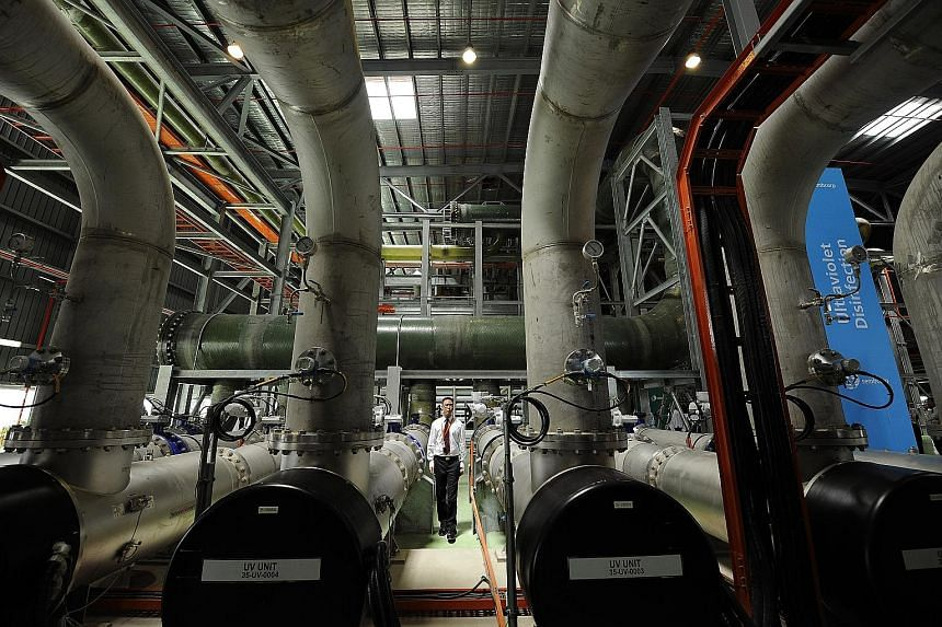 A file photo of pipes used in the treatment of recycled water at the Sembcorp Newater plant. PUB said that by 2060, Singapore's water demand is expected to double from today's 430 million gallons a day. Singapore has four main sources of water - loca