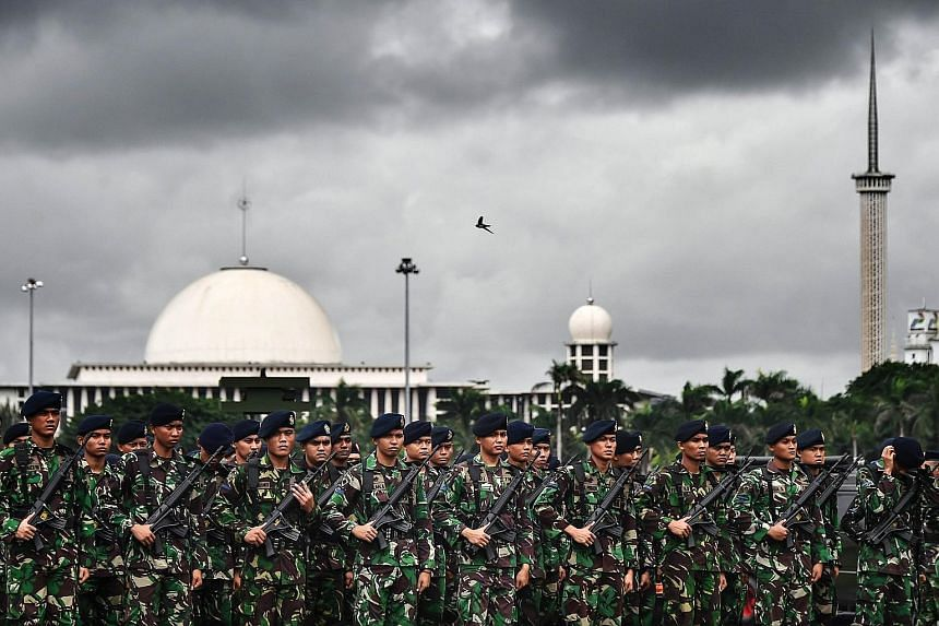 Indonesian troops at an event in Jakarta last month. Since being elected in 2014, President Joko has deployed the military to assist in implementing government projects across more than 500 regencies and cities.