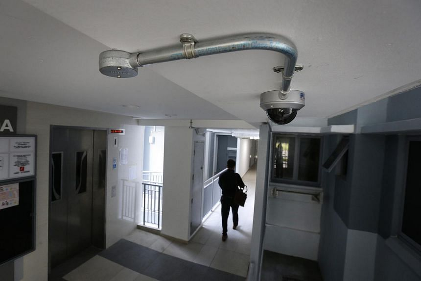 A security camera at a lift lobby in Pasir Ris One housing estate, on Jan 19, 2016.