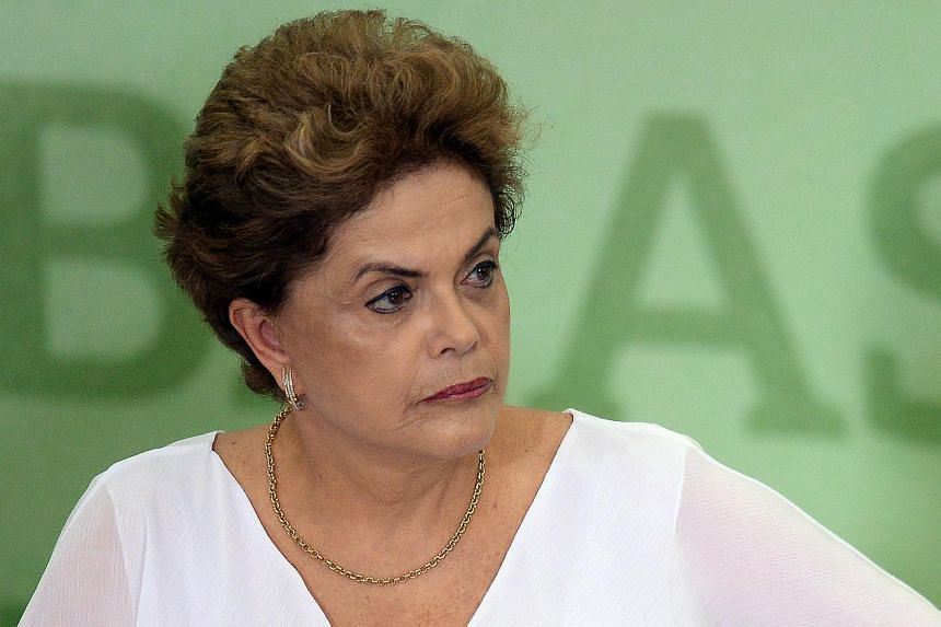 Brazilian President Dilma Rousseff speaking during a ceremony at Planalto Palace in Brasilia, on April 1, 2016.