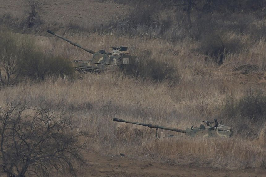 South Korean K-9 self-propelled howitzers at a military exercise near the demilitarized zone in Paju, South Korea, on April 1, 2016.