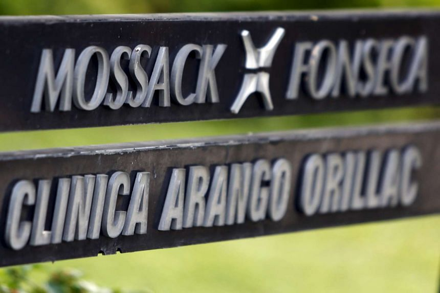 A sign with a company list showing the Mossack Fonseca law firm at the Arango Orillac Building in Panama City, on April 3, 2016.