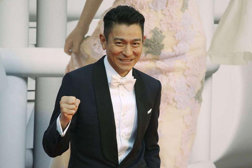 Actor Andy Lau poses at the Hong Kong Film Awards.