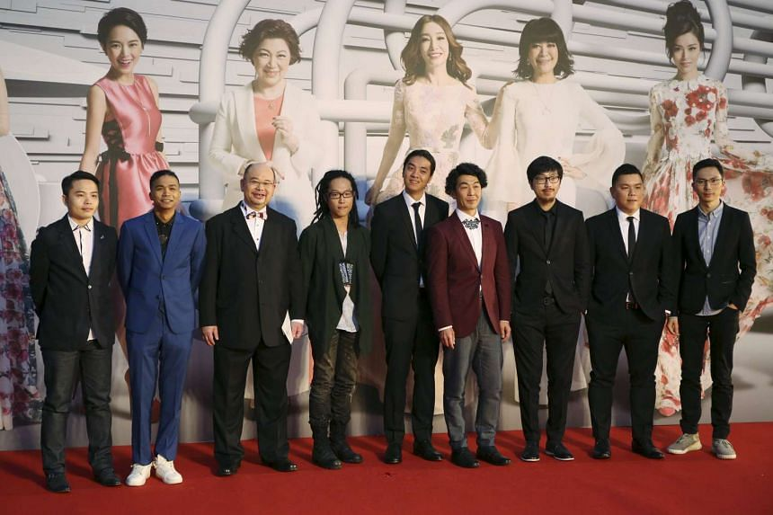 Executive producer Andrew Choi with directors and cast members of movie Ten Years, on the red carpet at the Hong Kong Film Awards.