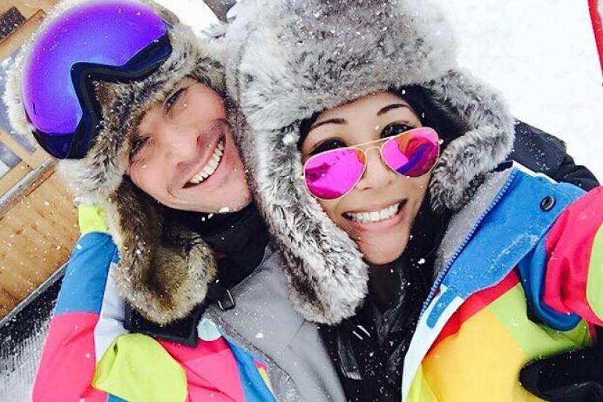 Model-DJ Tenashar with her boyfriend Thorsten Nolte on holiday in February 2016.