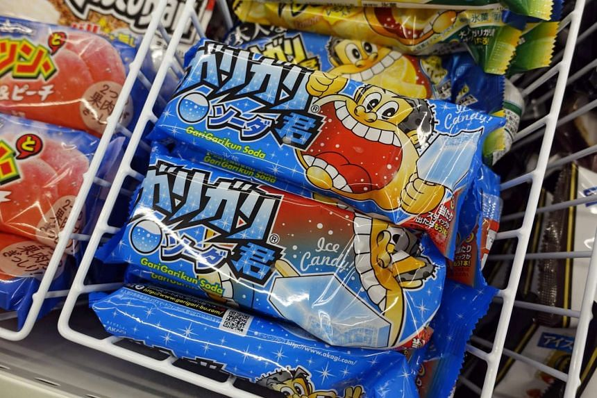 GariGarikun popsicles are seen on sale at a convenience store in Tokyo, Japan.