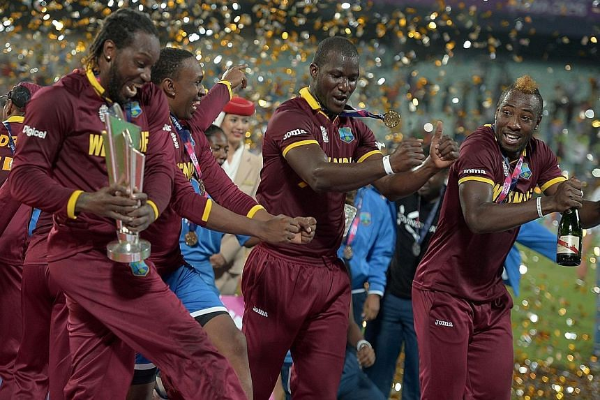 West Indies' cricketers celebrating after winning the World Twenty20 cricket tournament final against England on Sunday.