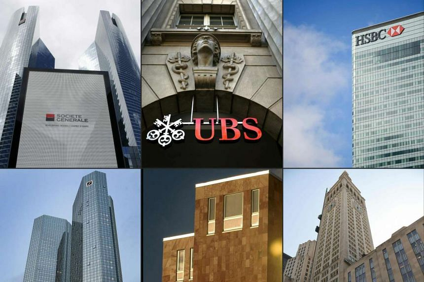 A collage of major banks involved in the Panama Papers leak, (from left to right) Societe Generale's headquarters, UBS headquarters, HSBC's London offices, Deutsche Bank's headquarters, Nordea's headquarters, and Credit Suisse's headquarters.