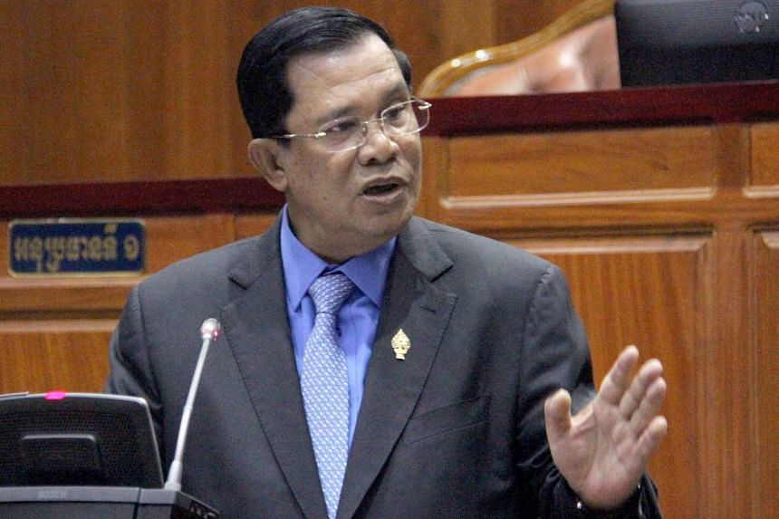 Cambodian Prime Minister Hun Sen speaking during a meeting at the National Assembly building in Phnom Penh.