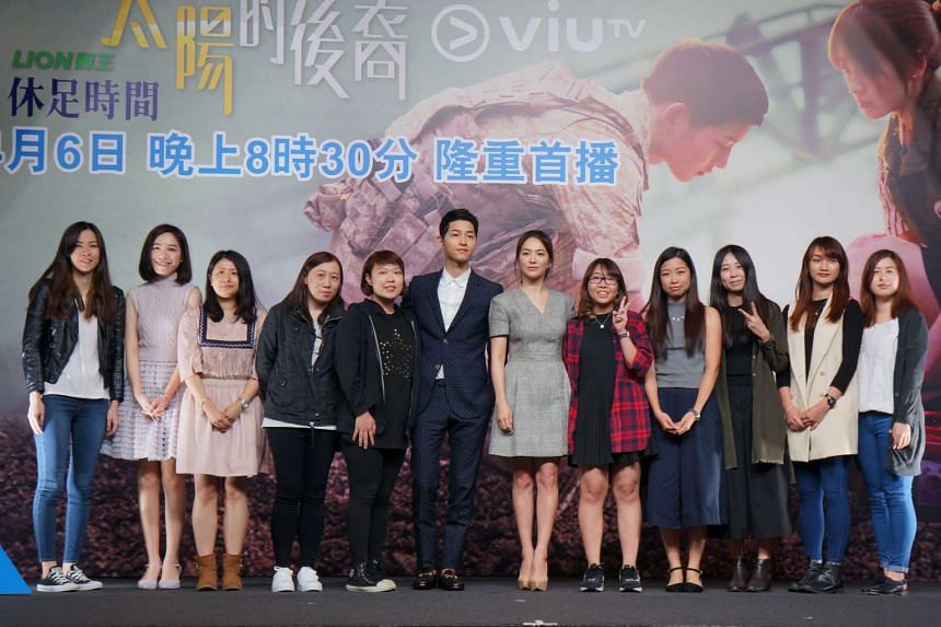 Lead actor Song Joong Ki and lead actress Song Hye Kyo of Descendants Of The Sun, for a press conference to promote their drama that airs on new Hong Kong TV channel ViuTV.