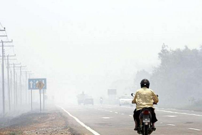 Bush fires are causing severe haze in Bongawan near Papar in Sabah. PHOTO: THE STAR/ ASIA NEWS NETWORK