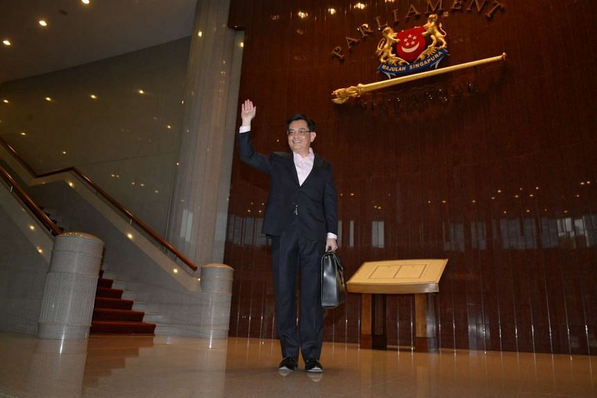Finance Minister Heng Swee Keat arriving at Parliament House for his first Budget speech on March 24, 2016.