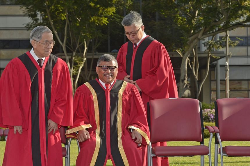 (From left) Judge of Appeal Chao Hick Tin, Chief Justice Sundaresh Menon and Justice Steven Chong during the Opening of the Legal Year 2016.