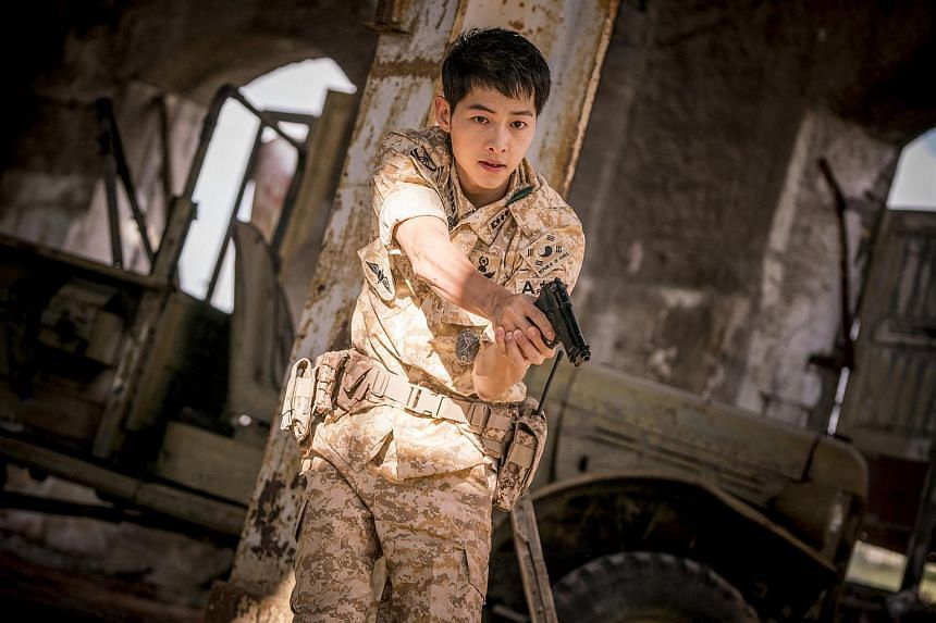 Actor Song Joong Ki as Captain Yoo Si Jin in Descendants of the Sun.