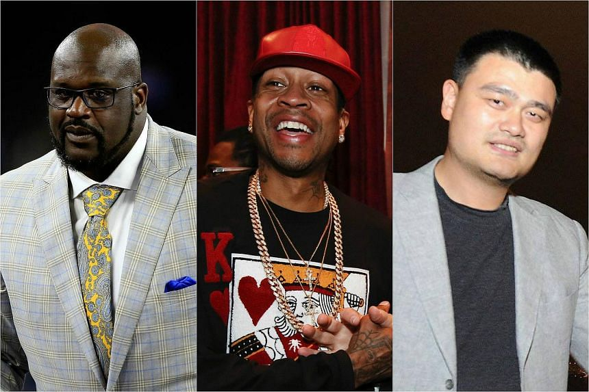From left: Shaquille O'Neal, Allen Iverson and Yao Ming are among 10 members of the class of 2016 who will be enshrined in basketball's Naismith Memorial Hall of Fame.