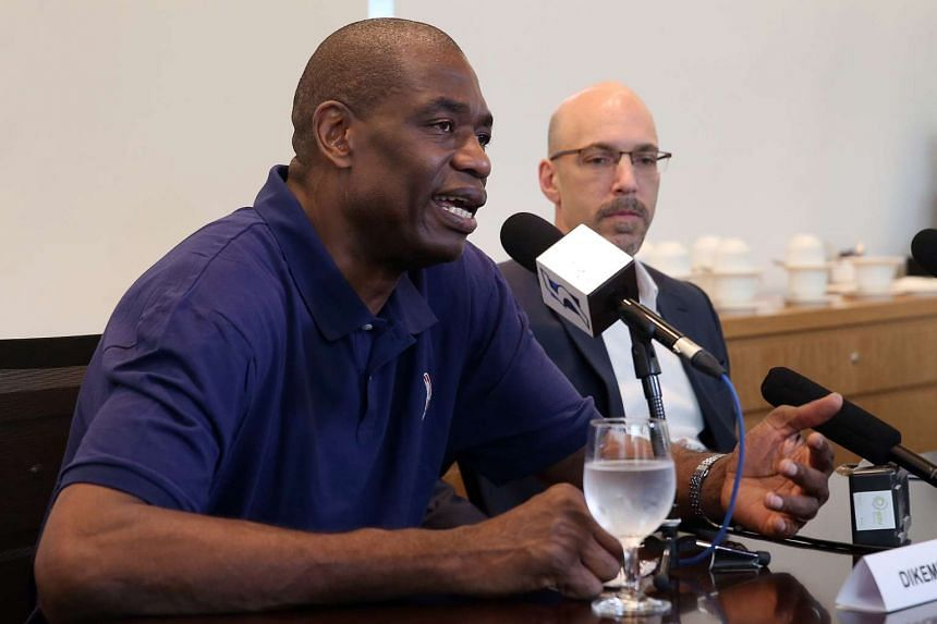 NBA Hall of Famer Dikembe Mutombo speaking to members of the media at Marina Bay Sands on April 5, 2016.