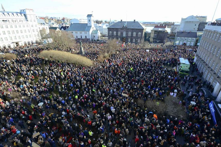 Thousands demonstrate against Iceland's Prime Minister Sigmundur Gunnlaugsson in Reykjavik, Iceland on April 4, 2016 after a leak of documents by so-called Panama Papers stoked anger over his wife owning a tax haven-based company with large claims on