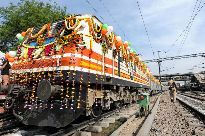 Indian Railways Minister Suresh Prabhu flagged off the country's first semi-high speed train, The Gatimaan Express, in New Delhi on April 5, 2016.