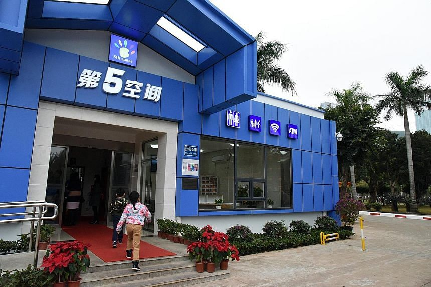 The new public toilets at Hainan's Evergreen Park (left) come with free Wi-Fi and ATM facilities, while a restroom in Harbin (right) meets the top rating under standards issued by the China National Tourism Administration.
