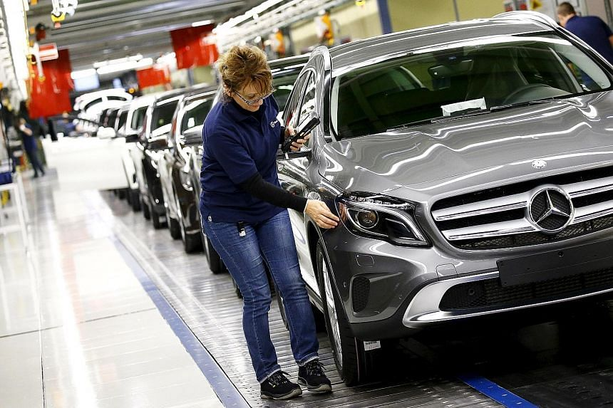 A Mercedes- Benz factory in Rastatt, Germany. The Bundesbank warned last month that the nation's growth momentum could slow in the second quarter as weakening exports prompt firms to curb output and hiring.
