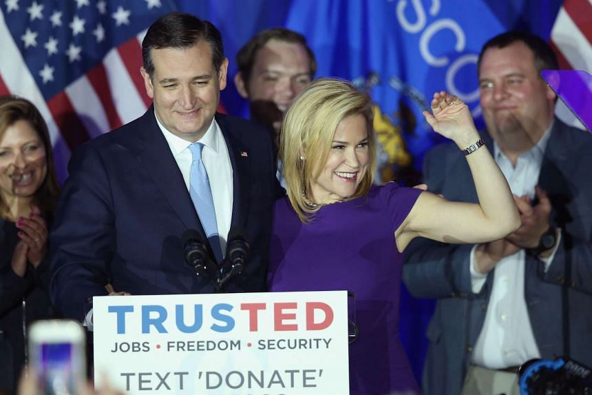 Republican presidential candidate Ted Cruz celebrates with his wife Heidi after the polls closed on April 5, 2016 in Milwaukee, Wisconsin.