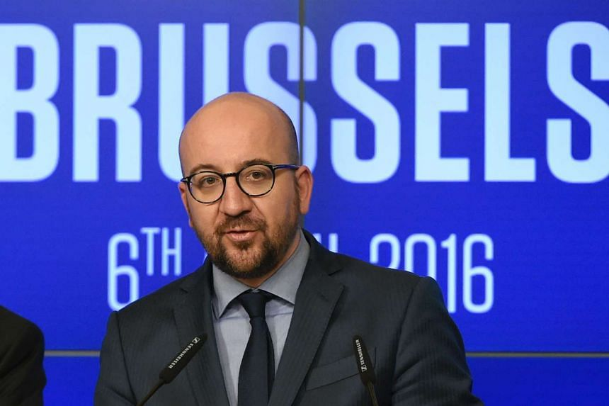 Belgian Prime minister Charles Michel speaks during a press conference in Brussels on April 6, 2016.