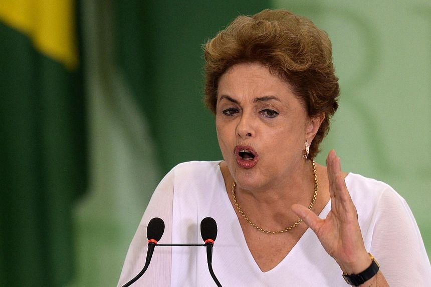 Brazilian President Dilma Rousseff speaks during a ceremony at Planalto Palace in Brasilia.