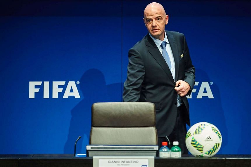 Fifa President Gianni Infantino arriving for a press conference in Zurich.