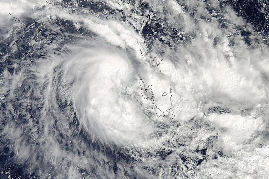 A satellite image of Tropical Cyclone Zena in the Southern Pacific Ocean west of Vanuatu on April 5, 2016.