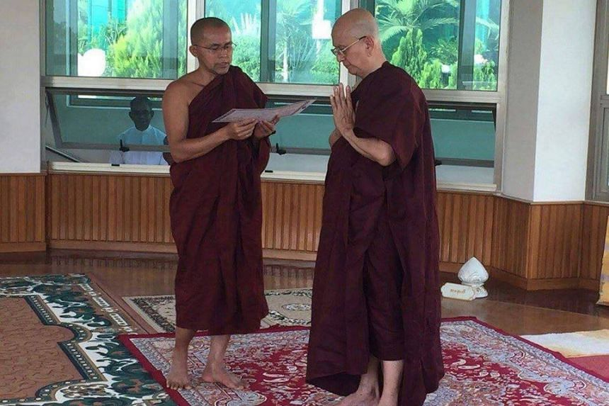 Pictures widely shared on social media showed a shaven-headed Thein Sein (right) wearing his trademark spectacles and draped in the deep maroon robes of the Buddhist clergy.