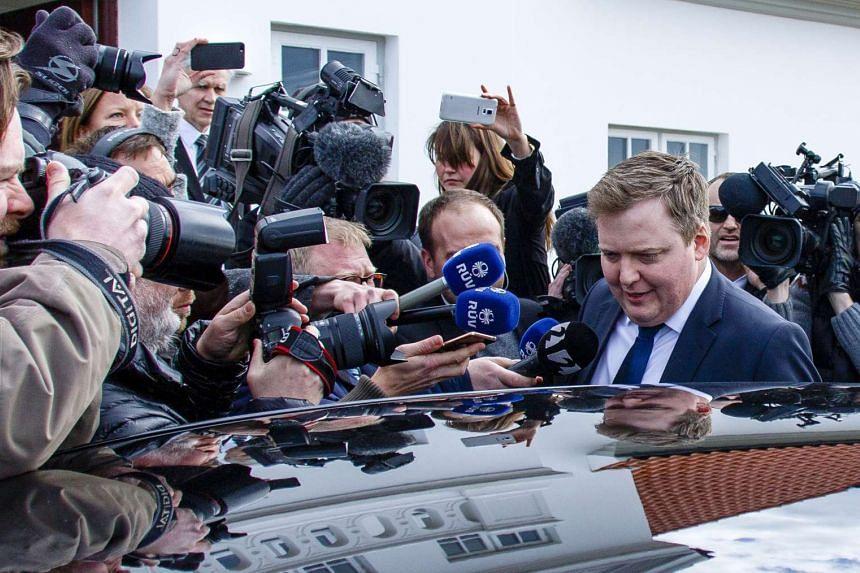 Mr Gunnlaugsson leaves the residence of President Olafur Ragnar Grimsson on April 5, 2016.