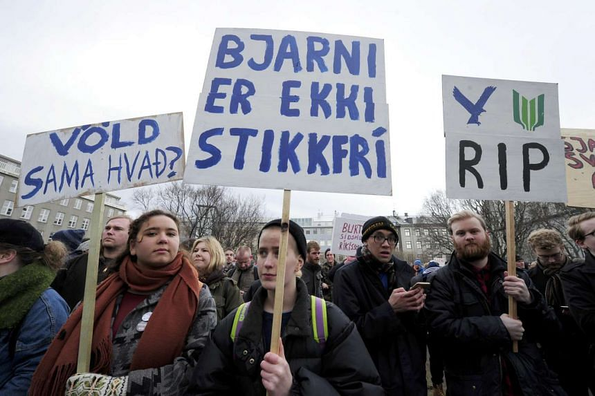 People demonstrate against Iceland's Prime Minister Sigmundur David Gunnlaugsson in Reykjavik, Iceland, April 5, 2016.