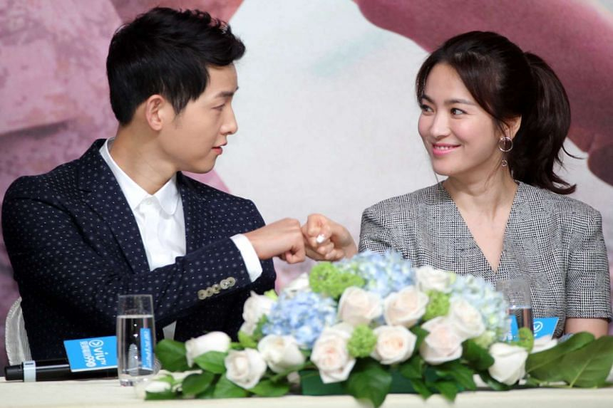 Descendants Of The Sun co-stars Song Joong Ki (left) and Song Hye Kyo at a press conference in Hong Kong yesterday.