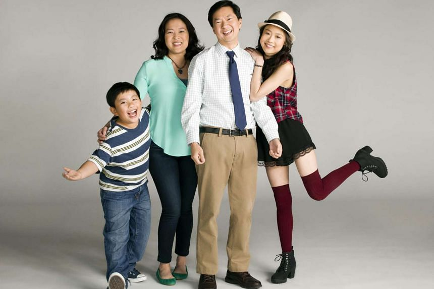 (From far left) Albert Tsai, Suzy Nakamura, Ken Jeong and Krista Marie Yu make up the Korean-American family in Dr Ken, while Danny Masterson and Ashton Kutcher star in The Ranch.