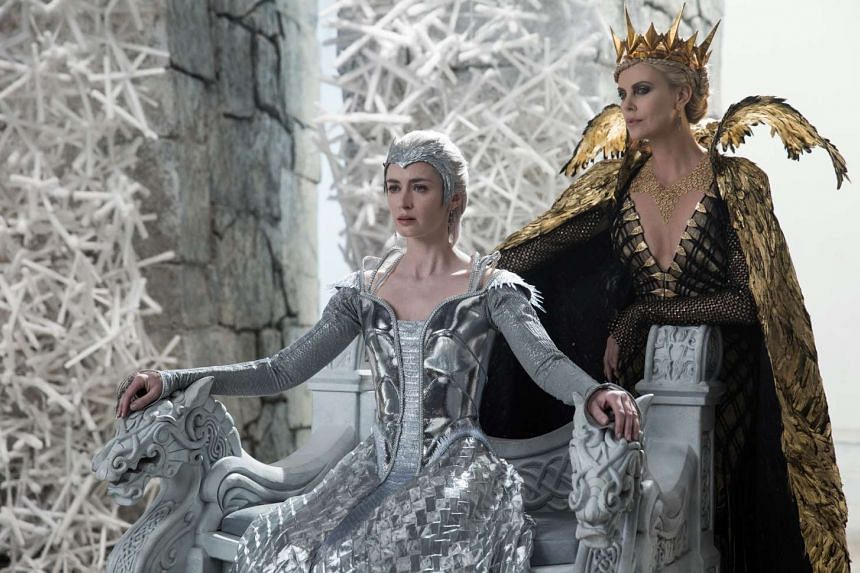 The cast of The Huntsman: Winter's War includes Charlize Theron (above right, with co-star Emily Blunt) and Jessica Chastain.