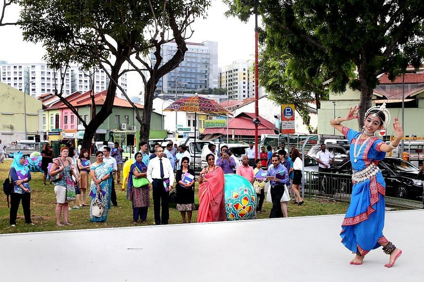Parvathy Varma,12, performing at an outdoor stage set up as part of a pilot project to promote Little India. To kick off the project, the Indian Cultural Fiesta will be held from Monday until the end of the month.