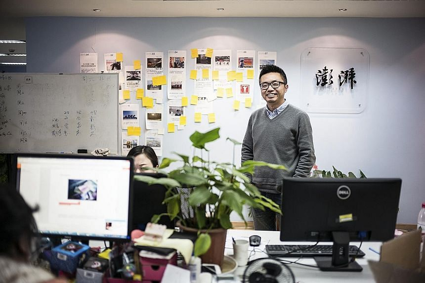 The Paper's editor Wei Xing in its Shanghai office on Tuesday. It was due to launch an English- language version called Sixth Tone yesterday in hopes of making its recipe for success in China work abroad.